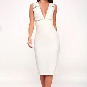 Lulu's - Lara White Sleeveless Cutout Midi Dress